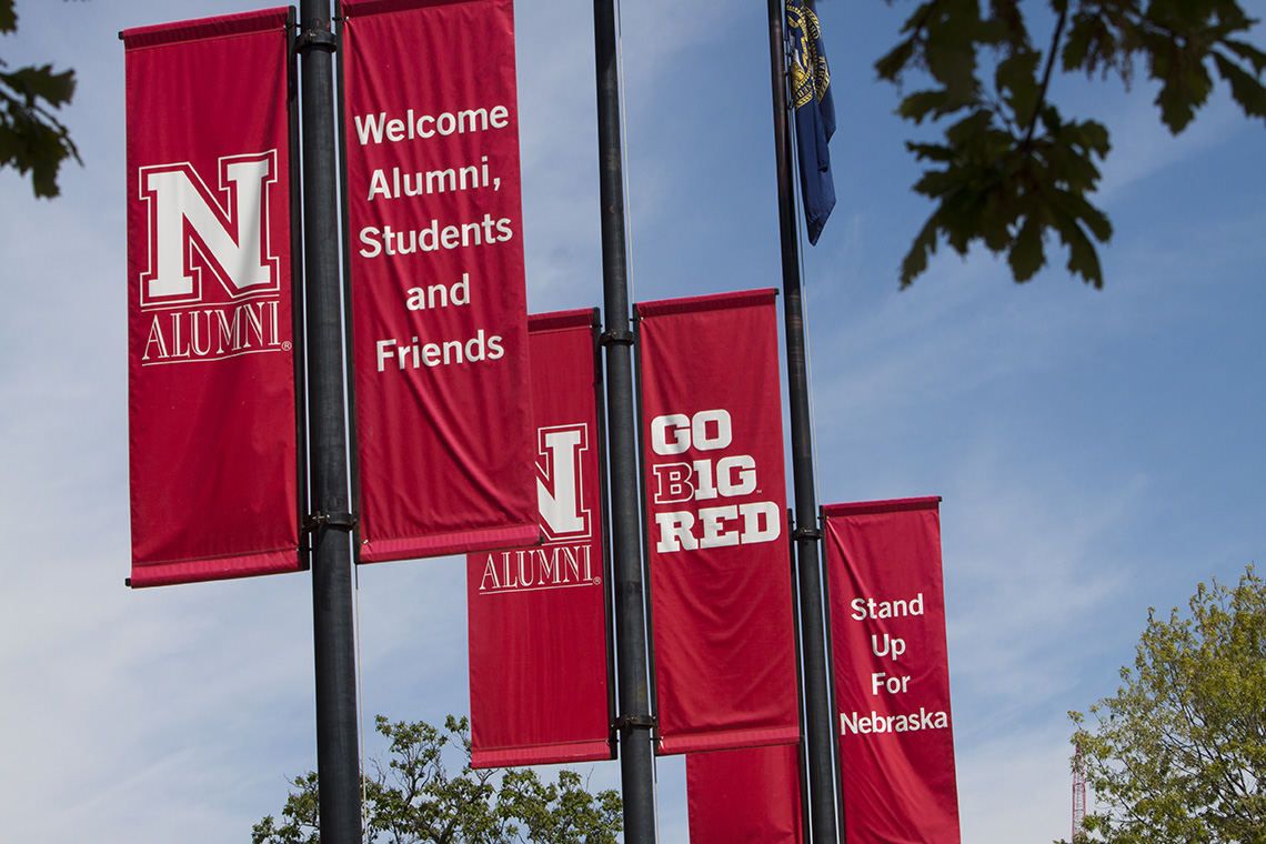 UNL Banners on Lamp Posts.